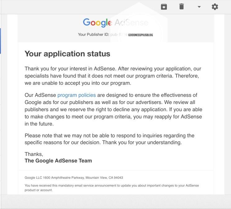 Google AdSense application status